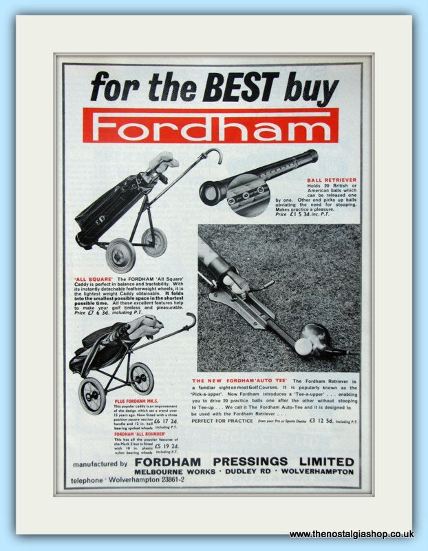 Fordham Golf Trolley. Original Advert 1966 (ref AD4761)