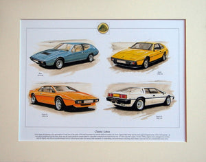 Lotus Classic cars 1974 - 93  Mounted Print