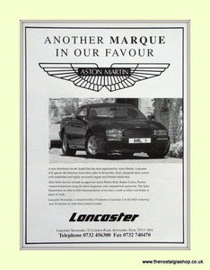 Aston Martin Lancaster Distributors Original Advert 1992 (ref AD6745)