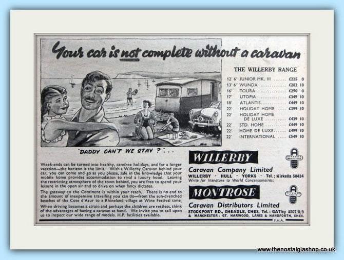 Willerby Montrose Caravans Original Advert 1955 (ref AD5072)