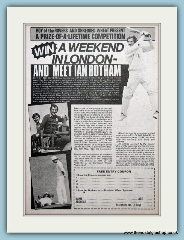 Ian Botham Competition Original Advert 1982 (ref AD2619)
