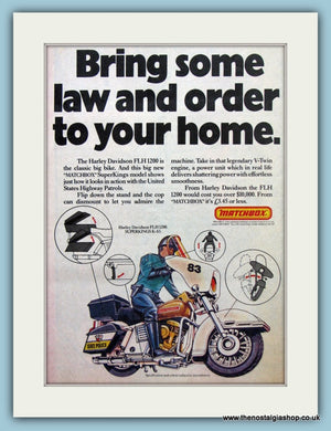 Matchbox Super Kings Harley Davidson Police Bike Original Advert 1981 (ref AD6457)
