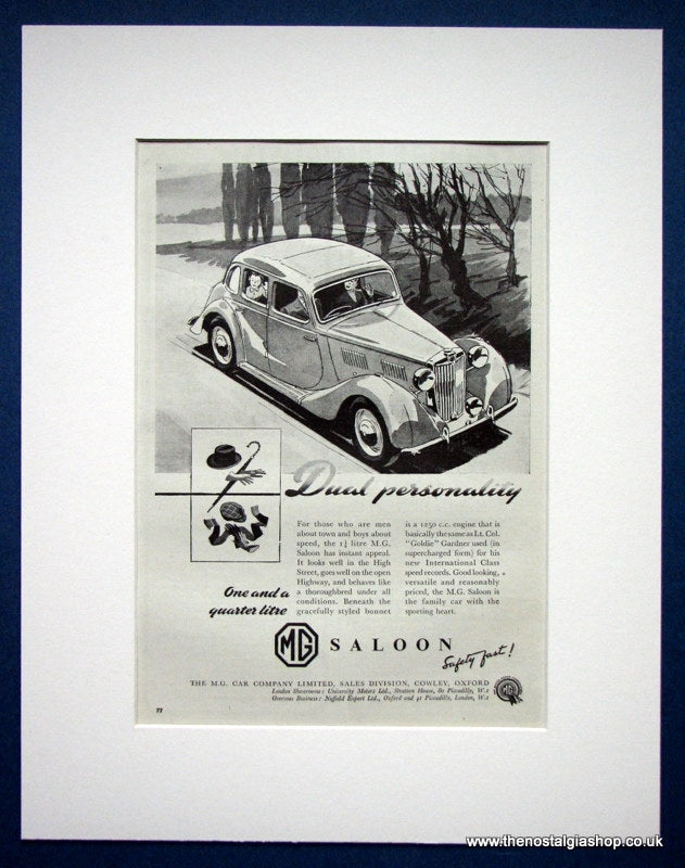 MG Saloon 1250cc. Original advert 1952 (ref AD1357)