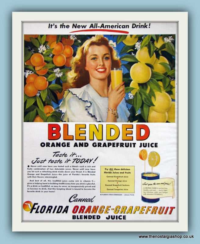 Florida Orange & Grapefruit Juice. Original Advert 1951 (ref AD8133)