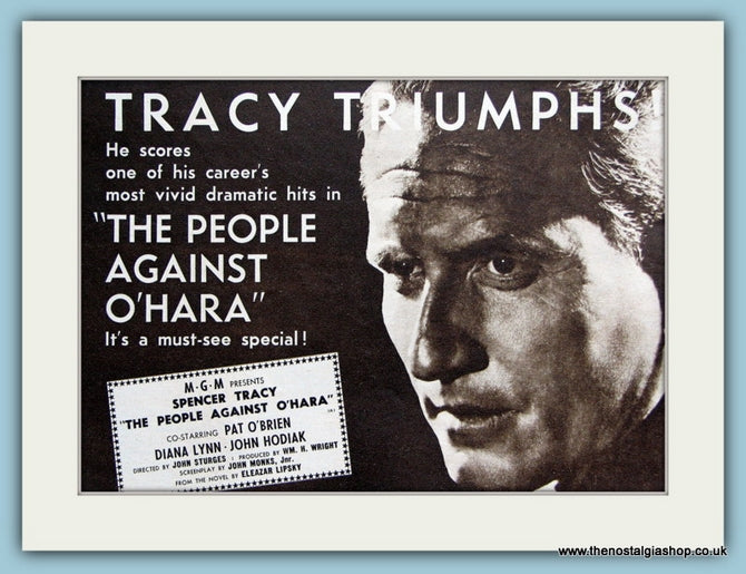 The People Against O'Hara starring Spencer Tracy. 1951 Original Advert (ref AD3201)