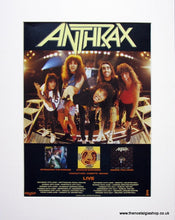 Load image into Gallery viewer, Anthrax Set of 3 Original adverts 1985 & 88 (ref AD915)