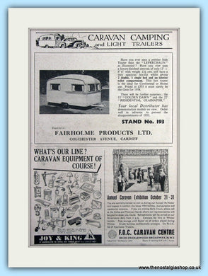Fairholme Products, Joy & King, F.O.C Caravan Centre Original Adverts 1953 (ref AD6337)
