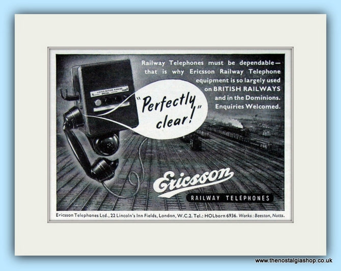 Ericsson Railway Telephones Original Advert 1953 (ref AD6524)