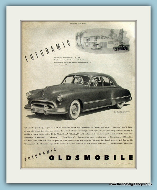 Oldsmobile 98 Futuramic. Original Advert 1948 (ref AD8230)