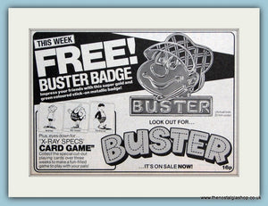 Buster Free Buster Badge Original Advert 1983 (ref AD6379)