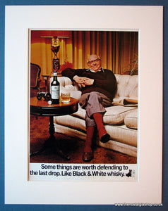 Black & White Whisky. Arthur Lowe. Original advert 1972 (ref AD1205)