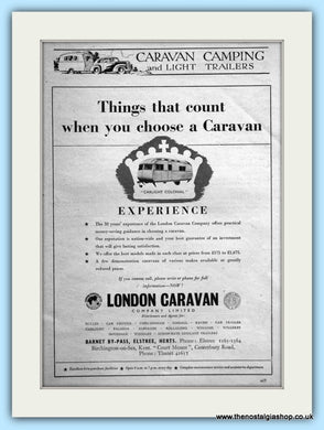 London Caravan Carlight Colonial Original Advert 1953 (ref AD6360)