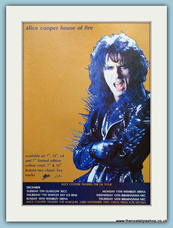 Alice Cooper, House of Fire Original Advert 1989 (ref AD3140)
