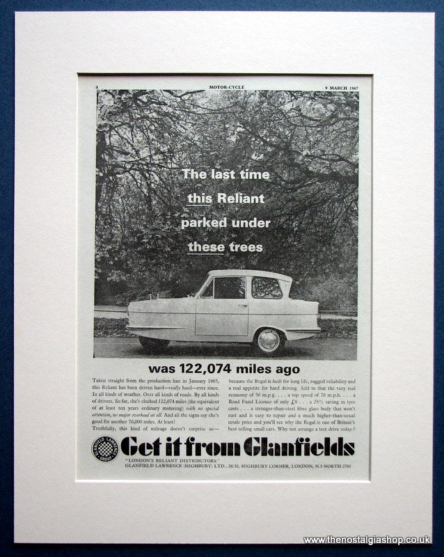 Reliant 1967 Original Advert (ref AD1622)