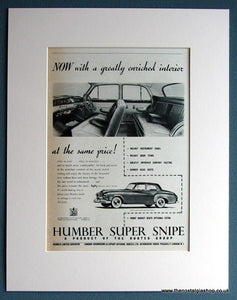 Humber Super Snipe 1954 Original Advert (ref AD1716)