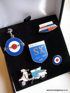 Lambretta. Set of 5 Enamel Badges (inc Keyring)