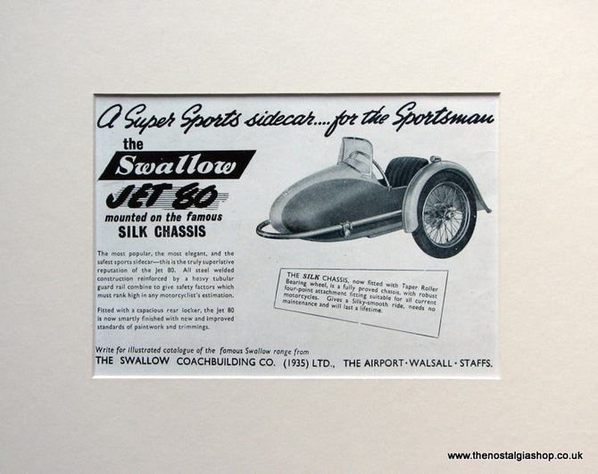 Swallow Jet 80 Set Of 2  Original Adverts 1951 (ref AD1591)