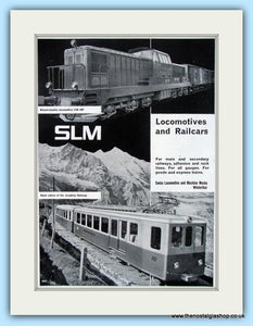 SLM Locomotives And Railcars Original Advert 1957 (ref AD6499)