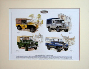 Land Rover Series I  legends 1948 - 58  Mounted Print (ref PR 6005)
