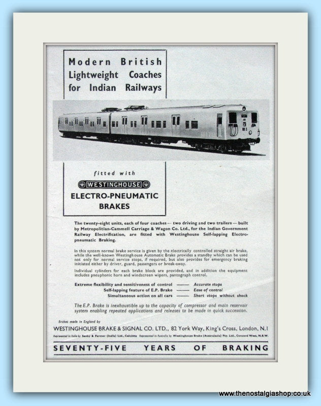 Westinghouse Electro-Pneumatic Brakes Original Advert 1951 (ref AD6513)