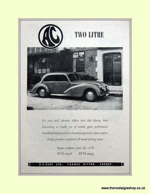 AC Two Litre. Original Advert 1951 (ref AD6607)