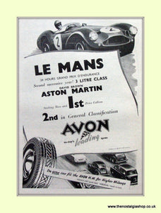 Aston Martin Avon Tyres Stirling Moss Original Advert 1956 (ref AD6762)