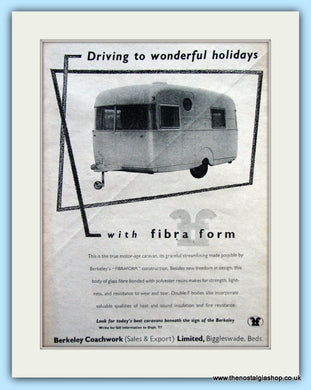Berkeley Coachwork Fibra Form Caravans Original Advert 1955 (ref AD6349)