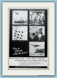 R.A.F Flying And Career Original Advert 1962 (ref AD6272)