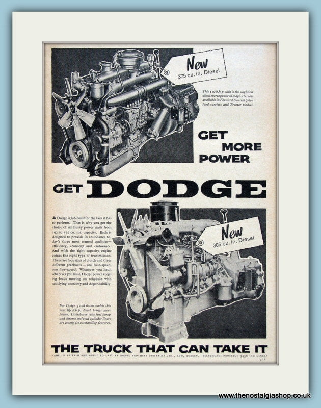 Dodge 5 & 6 Ton Engines Original Advert 1960 (ref AD2958)