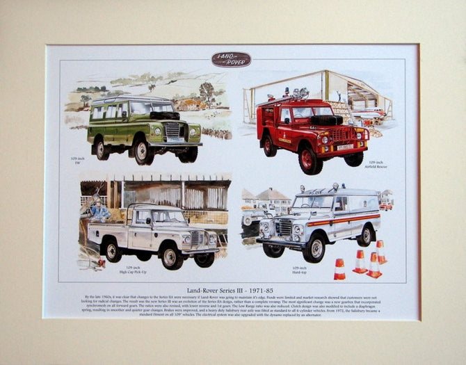 Land Rover Series III 1971 - 85  Mounted print (ref PR 6003)