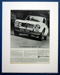 Alfa Romeo Giulia Super. 2 x  Original adverts 1966 & 67 (ref AD1419)