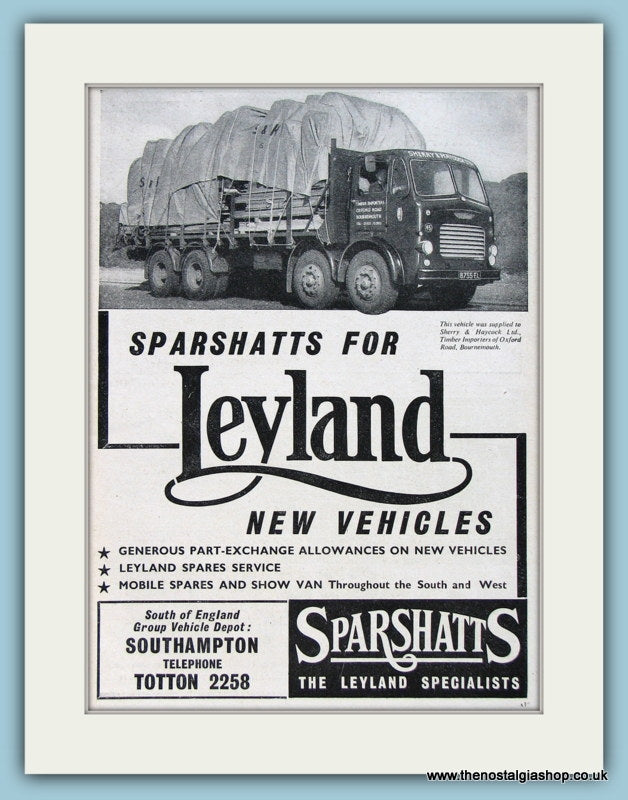 Leyland Sparshatts Original Advert 1960 (ref AD2952)