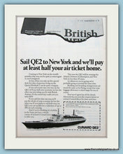 Load image into Gallery viewer, Cunard QE2 Cruise Ship Set Of 2 Original Adverts 1979 (ref AD2312)