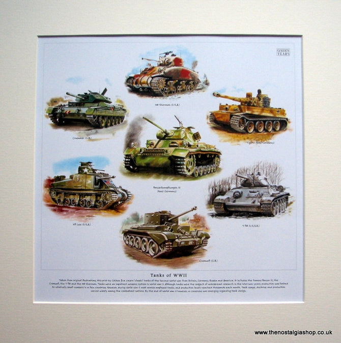 Tanks of WWII Mounted Print.