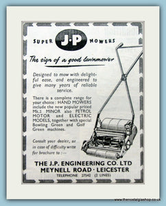 J.P Lawn Mowers. Original Advert 1951 (ref AD4628)