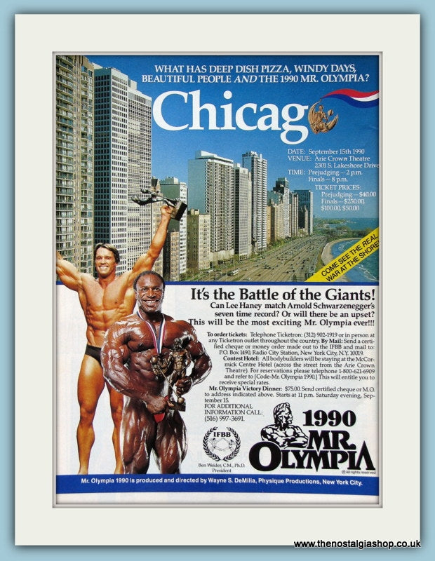 Mr Olympia Featuring Lee Haney and Arnold Schwarzenegger Original Advert 1990 (ref AD3928)