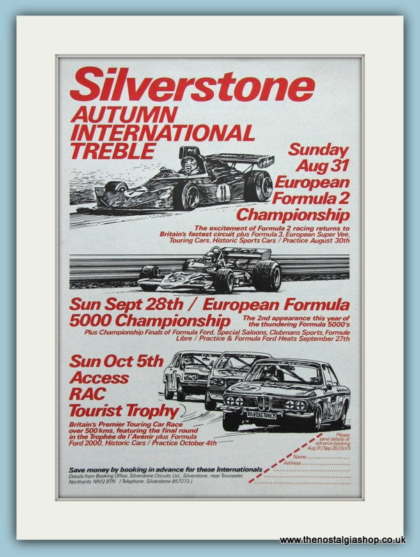 Silverstone Treble Meeting 1975. Original Advert (ref AD2006)