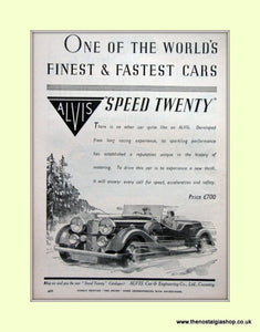 Alvis Speed Twenty 1936 Original Advert (ref AD6620)