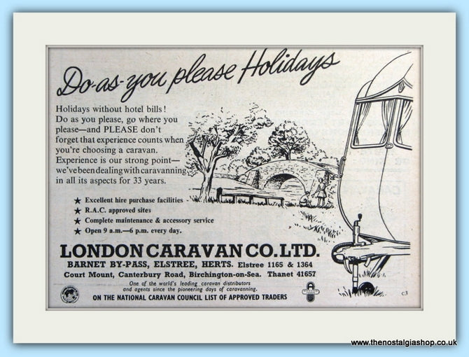London Caravan Co Ltd Original Advert 1955 (ref AD5074)