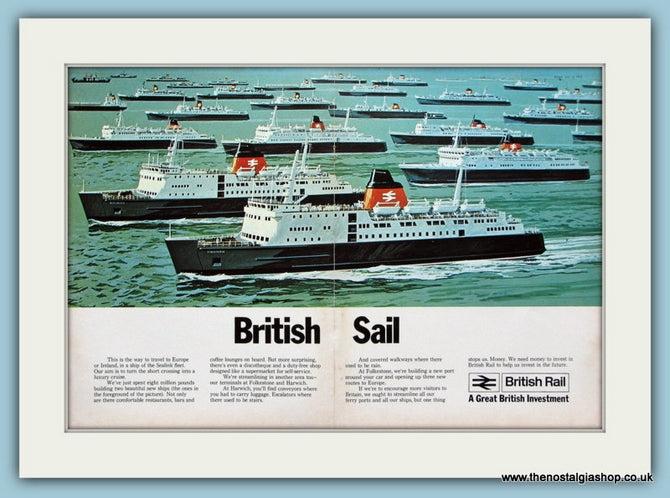 British Rail Sealink Double Original Advert 1972 (ref AD2302)