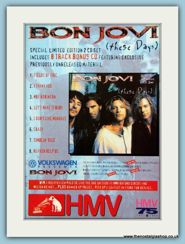 Bon Jovi These Days Special Edition 1995 Original Advert (ref AD3286)
