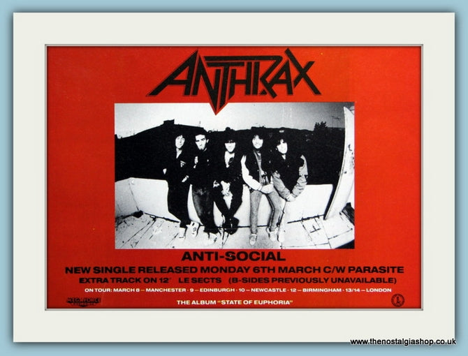 Anthrax Set of 3 Original Adverts I'm The Man, Indians, Anti-Social 1980's (ref AD3054)