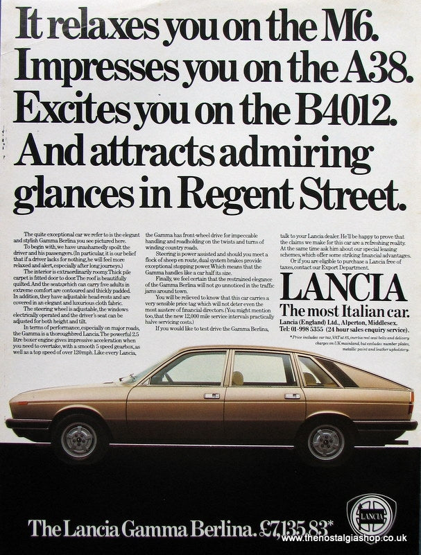 Lancia Gamma Berlina 1979 Original Advert (ref AD 1674)