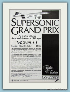 Monaco Grand Prix Fly Concorde 1987. Original Advert (ref AD2038)