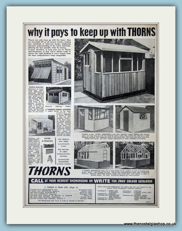 Thorns Garages Workshops Greenhouses Original Advert 1964 (ref AD4675)