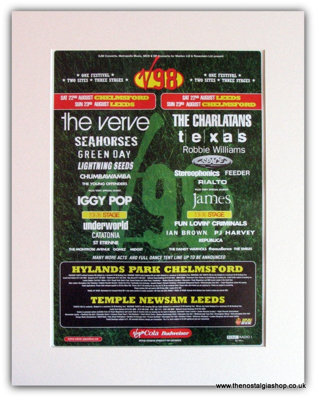 V98 Festival Advert, The Verve, Charlatans (ref AD1818)