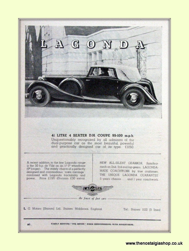 Lagonda Set Of 2 Original Adverts 1937 (ref AD6727)