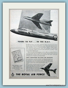 R.A.F Hawker Hunter Original Advert 1955 (ref AD6275)