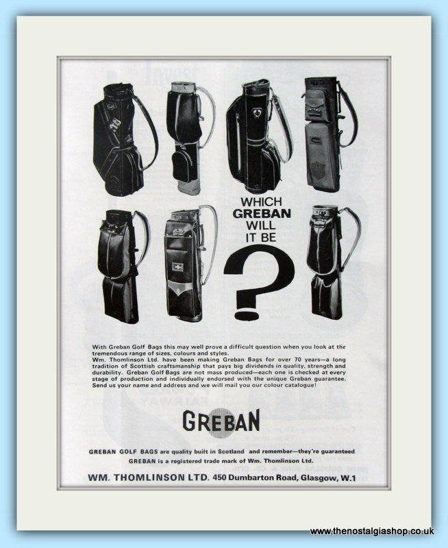 Greban Golf Bag Range. Original Advert 1964 (ref AD4971)