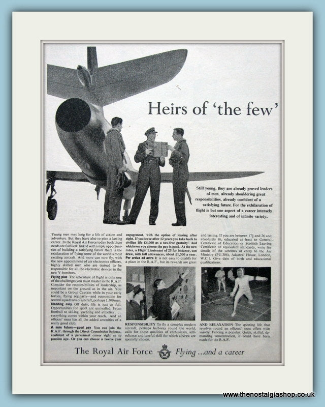 The Royal Air Force Flying And A Career Original Advert 1956 (ref AD6283)